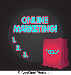 Writing note showing Online Marketing. Business photo showcasing leveraging web based channels spread about companys brand Color Gift Bag with Punched Hole on Two toned Blank Space.