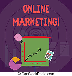 Writing note showing Online Marketing. Business photo showcasing leveraging web based channels spread about companys brand Investment Icons of Pie and Line Chart with Arrow Going Up.