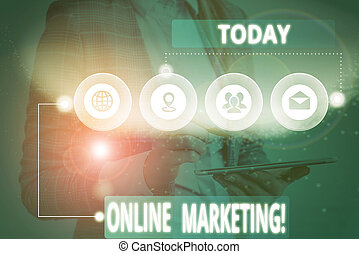 Writing note showing Online Marketing. Business photo showcasing leveraging web based channels spread about companys brand Picture photo network scheme with modern smart device.