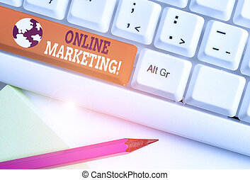 Writing note showing Online Marketing. Business photo showcasing leveraging web based channels spread about companys brand White pc keyboard with note paper above the white background.