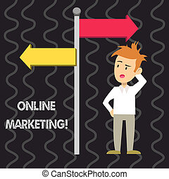 Writing note showing Online Marketing. Business photo showcasing leveraging web based channels spread about companys brand Man Confused with Road Sign Pointing to Opposite Direction.