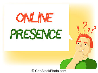 Writing note showing Online Presence. Business photo...