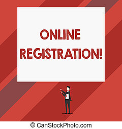 Writing note showing Online Registration. Business photo showcasing Process to Subscribe to Join an event club via Internet Isolated view man standing pointing upwards two hands big rectangle.