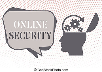 Writing note showing Online Security. Business photo showcasing rules to protect against attacks over the Internet