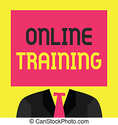 Writing note showing Online Training. Business photo...