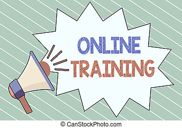 Writing note showing  Online Training. Business photo showcasing Take the education program from the electronic means