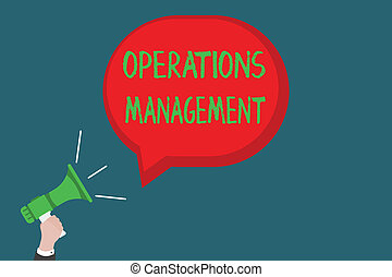 Writing note showing Operations Management. Business photo...