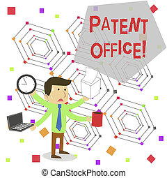 Writing note showing Patent Office. Business photo showcasing a government office that makes decisions about giving patents Stressed Male Employee Manager Multitasking Meet Deadline.