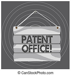Writing note showing Patent Office. Business photo showcasing a government office that makes decisions about giving patents Hook Up Blank Sign Plate. Empty Wooden Signboard with Lope for Hang.