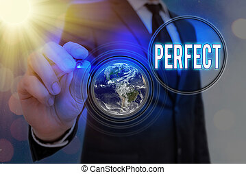 Writing note showing Perfect. Business photo showcasing complete without defects or blemishes precisely accurate or exact Elements of this image furnished by NASA.