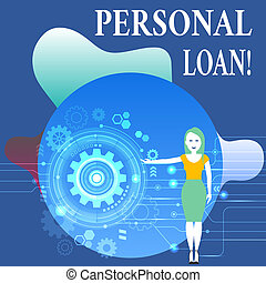 Writing note showing Personal Loan. Business photo showcasing taking money bank helps you meet your current financial needs Woman Presenting the SEO Process with Cog Wheel Gear inside.