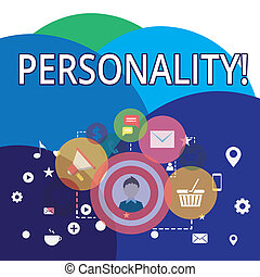 Writing note showing Personality. Business photo showcasing combination characteristics that form individuals character photo of Digital Marketing Campaign Icons and Elements for Ecommerce.