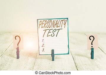 Writing note showing Personality Test. Business photo ...