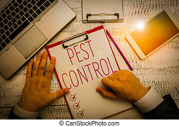 Writing note showing Pest Control. Business photo showcasing...