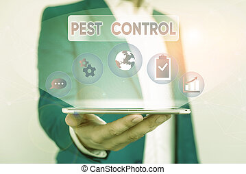 Writing note showing Pest Control. Business photo showcasing analysisagement of a species that impacts adversely on huanalysis Male human wear formal suit presenting using smart device.