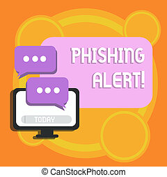 Writing note showing Phishing Alert. Business photo showcasing direct user visit site where they asked demonstratingal information Monitor and Two Speech Balloon with Three Dots for Chat Icon.