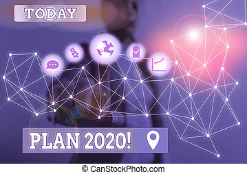 Writing note showing Plan 2020. Business concept for detailed proposal doing achieving something next year Picture photo network scheme with modern smart device
