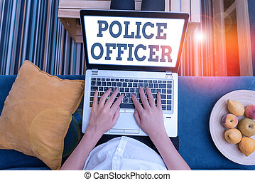 Writing note showing Police Officer. Business photo showcasing a demonstrating who is an officer of the law enforcement team.