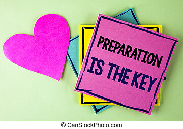 Writing note showing  Preparation Is The Key. Business photo showcasing Learn Study Prepare yourself for achieving success written on Pink Sticky Note Paper on plain background Heart next to it.