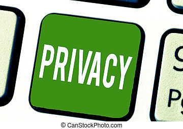 Writing note showing Privacy. Business photo showcasing Right to keep demonstratingal matters and information as a secret