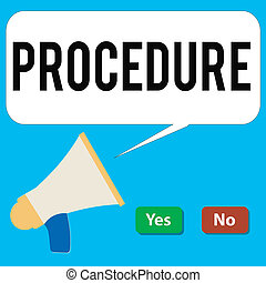 Writing note showing Procedure. Business photo showcasing Established official way of doing something Rules Guidelines