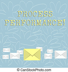 Writing note showing Process Perforanalysisce. Business photo showcasing measure of how efficient or effective a process is Color Envelopes in Different Sizes with Big one in Middle.