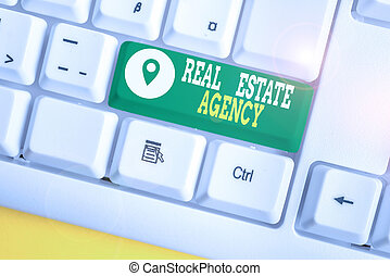 Writing note showing Real Estate Agency. Business concept for Business Entity Arrange Sell Rent Lease Manage Properties White pc keyboard with note paper above the white background