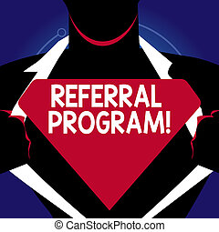 Writing note showing Referral Program. Business photo showcasing internal recruitment method employed by organizations Man Opening his Shirt to reveal the Blank Triangular Logo.