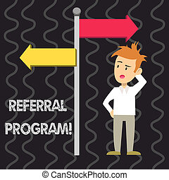 Writing note showing Referral Program. Business photo showcasing internal recruitment method employed by organizations Man Confused with Road Sign Pointing to Opposite Direction.