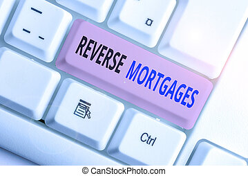 Writing note showing Reverse Mortgages. Business concept for borrower to access the unencumbered value of the property