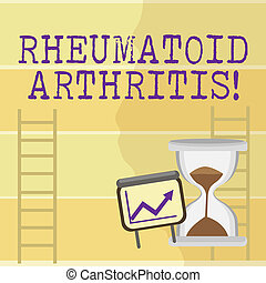 Writing note showing Rheumatoid Arthritis. Business photo showcasing chronic progressive disease causing joints inflammation Growth Chart with Arrow Going Up and Hourglass Sand Sliding.