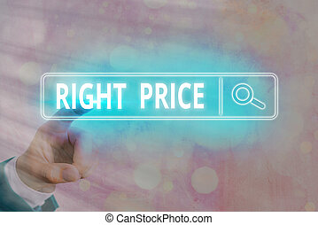 Writing note showing Right Price. Business photo showcasing the amount of money that it is reasonable for the product Web search digital information futuristic technology network connection.