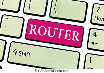 Writing note showing Router. Business photo showcasing power...