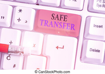 Writing note showing Safe Transfer. Business photo showcasing electronic funds transfer from one demonstrating to another.