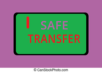 Writing note showing Safe Transfer. Business photo...