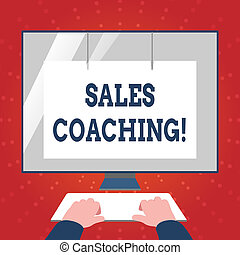 Writing note showing Sales Coaching. Business photo showcasing analysisage their team by analyzing metrics and KPIs of selling Hands on Keyboard Front White Monitor with Screen Protector.