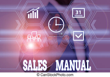 Writing note showing Sales Manual. Business photo showcasing set of printed materials containing product descriptions Male wear formal work suit presenting presentation smart device.