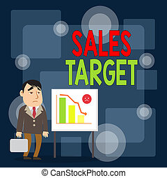 Writing note showing Sales Target. Business photo showcasing...