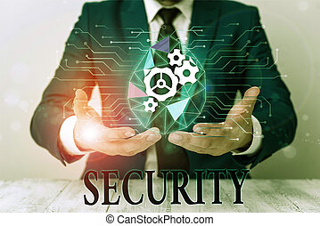 Writing note showing Security. Business photo showcasing The...