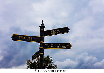 Writing note showing Self Care. Business photo showcasing the practice of taking action to improve one s is own health Road sign on the crossroads with blue cloudy sky in the background.
