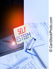 Writing note showing Self Esteem. Business photo showcasing ...