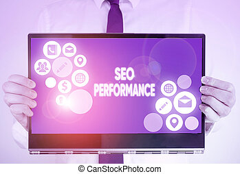 Writing note showing Seo Perforanalysisce. Business photo ...