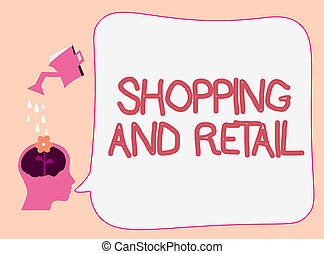 Writing note showing Shopping And Retail. Business photo showcasing Process of Selling Consumer Goods Services to customers