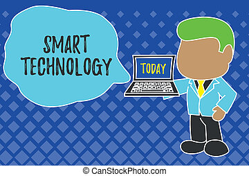 Writing note showing Smart Technology. Business photo showcasing gadgets or device that has a built in computer or chip Standing professional businessman holding open laptop right hand side.