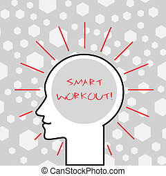 Writing note showing Smart Workout. Business photo showcasing set a goal that maps out exactly what need to do in being fit Outline Silhouette Human Head Surrounded by Light Rays Blank Text Space.