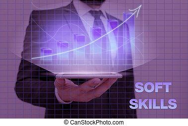 Writing note showing Soft Skills. Business photo showcasing ...