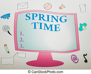 Writing note showing Spring Time. Business photo showcasing ...