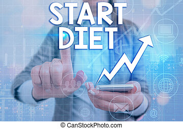 Writing note showing Start Diet. Business photo showcasing the practice of eating food in a regulated and supervised fashion Arrow symbol going upward showing significant achievement.