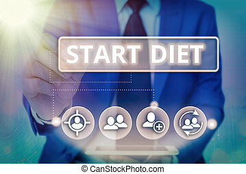 Writing note showing Start Diet. Business photo showcasing the practice of eating food in a regulated and supervised fashion Information digital technology network infographic elements.