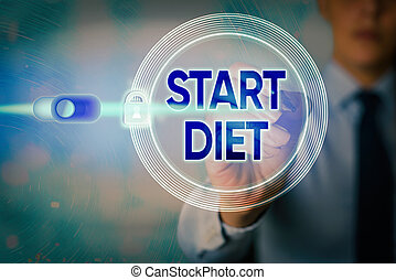 Writing note showing Start Diet. Business photo showcasing the practice of eating food in a regulated and supervised fashion Graphics padlock for web data information security application system.
